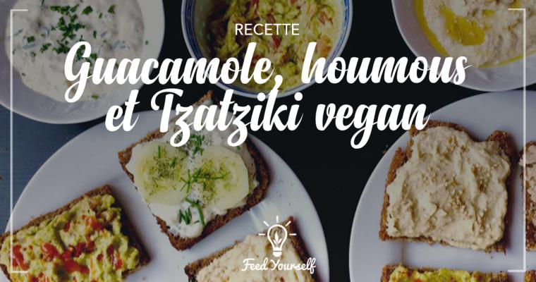 Apéro time : recette de guacamole, houmous et tzatziki vegan